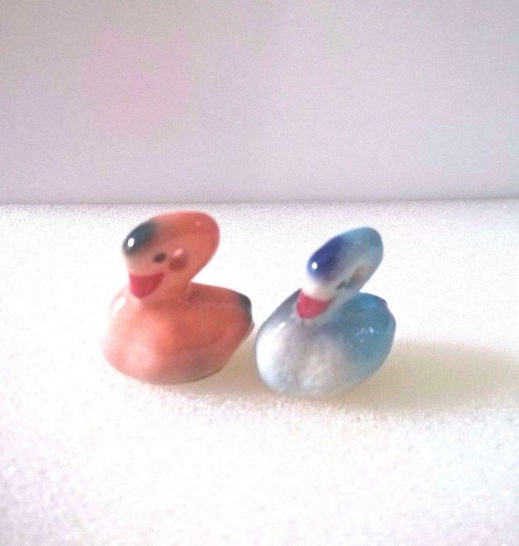 2 DollHouse Miniature Swan Animal Ceramic Collectible Home &Garden DecorFreeship #Unbranded