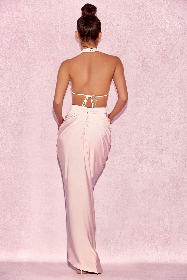 Clothing : Max Dresses : 'Vittoria' Baby Pink Draped Silky Jersey Maxi Dress