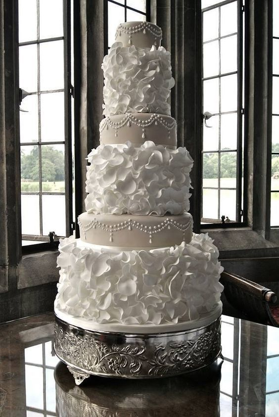 Taupe and Cream elegant Wedding Cake