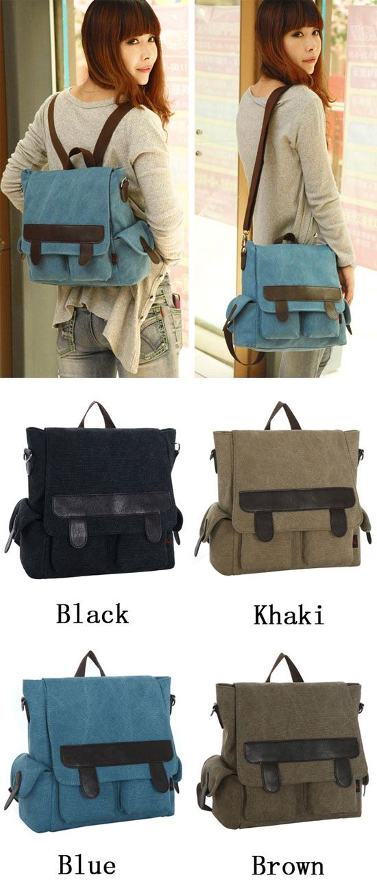 A cool backpack ! Retro Multifunction Canvas Backpack&Shoulder Bag&Handbag #retro #handbag #shoulder #multifunction #bag
