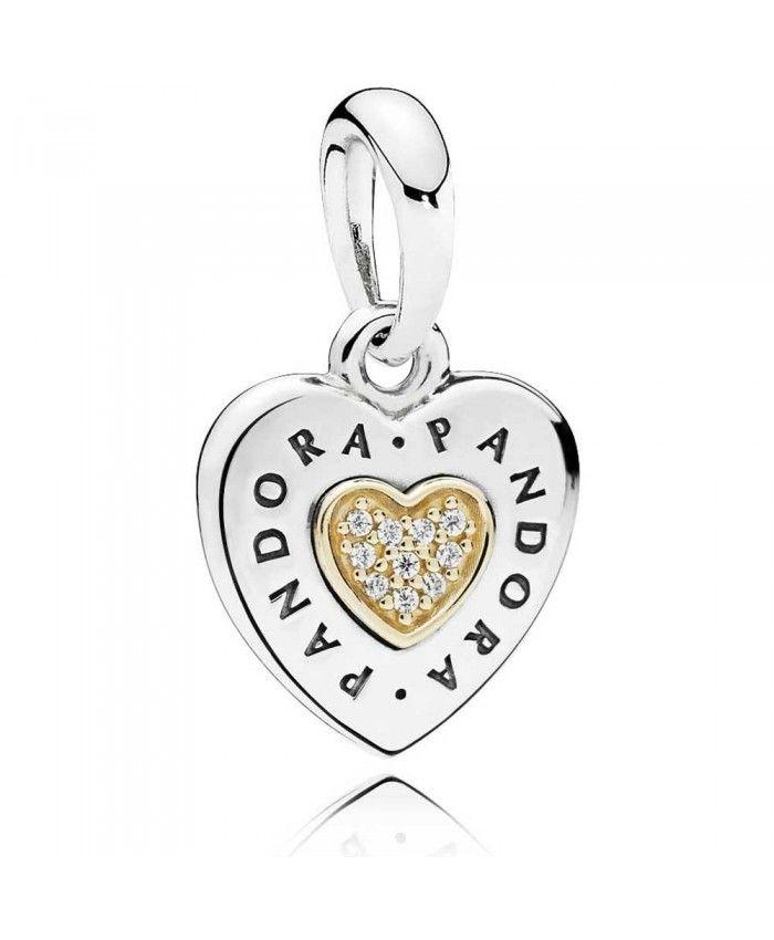 410b624bc Pandora 14ct Gold Silver Signature Heart Pendant | pandora charms ...