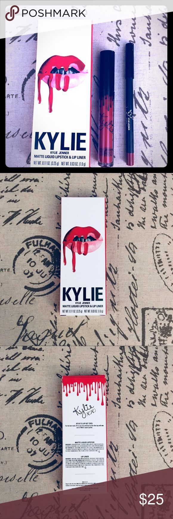 🆕 KYLIE JENNER Lip Kit Red Lipstick & Lip Liner -AUTHENTIC New in box Kylie Lip Kit  -Color: Mary Jo K, a true blue red  -Kit contains one matte liquid lipstick and one lip liner. -SOLD OUT on Kylie's website Kylie Cosmetics Makeup Lipstick