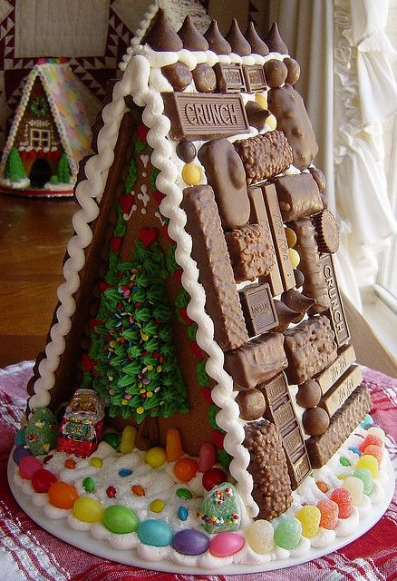 Maybe we could try this one this year? I'm sure we could make it look like a shack! Lol! @amaleigh17 @syross Are we gonna try one this year???: Candy Houses, Chocolates Candy, Halloween Candy, Chocolates Bar, Houses Inspiration, Chocolates Lovers, Gingerbread Houses, A Frames, Christmas Gingerbread