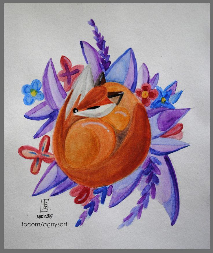 """""""Purple Dreams"""" #Purple #Fox #Dream #Watercolor #Nature #Animal #Colors"""