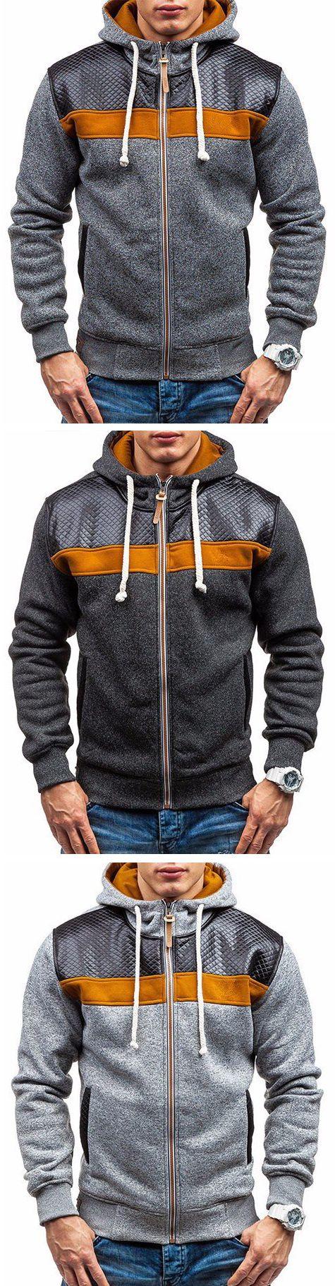 Mens Hoodies Fashion Splicing Zipper Hood Casual Sport Hooded Tops