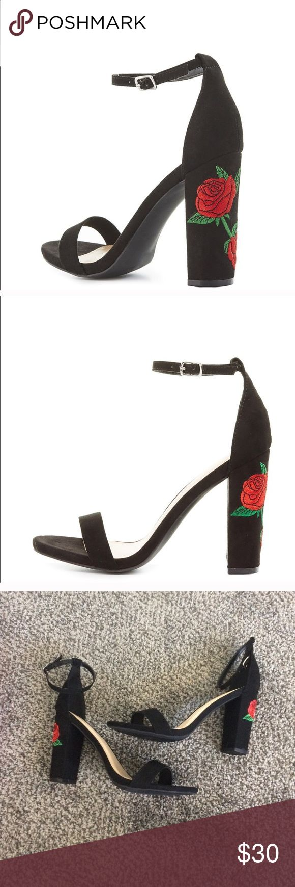 Charlotte Russe embroidered block heel New with box! Charlotte Russe Shoes Heels