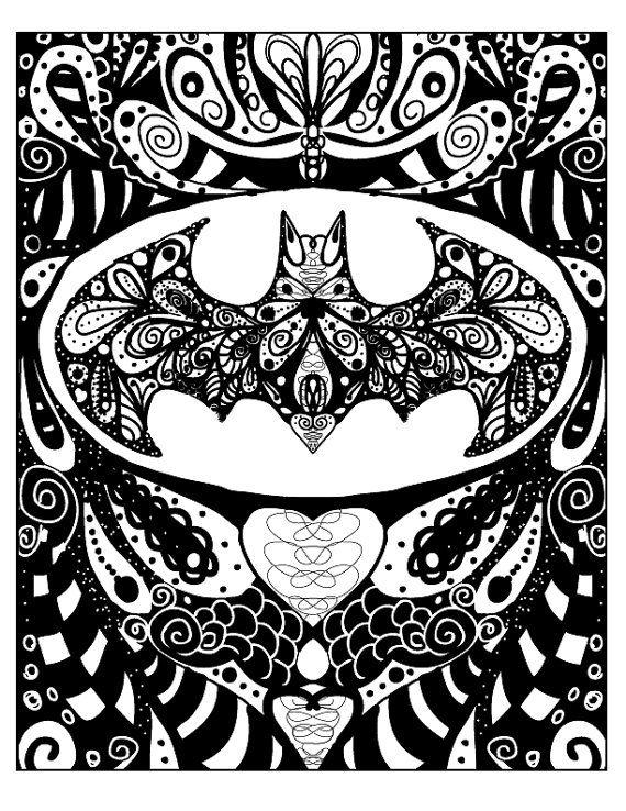 Batman Fan Art, Super Hero Batman Doodle Art One of a kind, 8x10 image printed on an 8.5x11 ready to frame on Etsy, $12.00