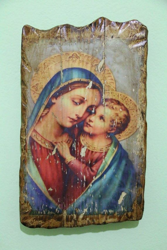 Blessed virgin mary & young Jesus. Handmade in Hellas-Greece. Dimensions: 7,85 x 11,80 inches / 20 x 30 cm