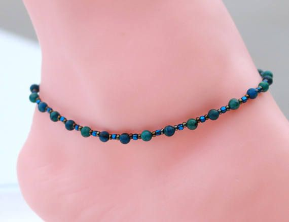 This handmade simple bead anklet was designed using blue and green colored jasper beads. The beads are complimented with blue hematite and Czech glass seed beads. The clasp is a silver plated lobster claw. This lovely anklet is simple yet quite eloquent.  I will custom size this anklet just for you. To choose your perfect size measure your ankle and add 1/4 inch for comfort. A 1 inch long extender chain is included with this anklet.  You will receive that exact item pictured. It was hand...