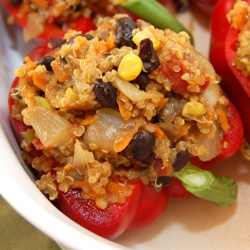 Quinoa stuffed red peppers  This was SO good! It made a ton so I made one meal for dinner, one freezer meal, and using leftovers tomorrow for quesadillas!
