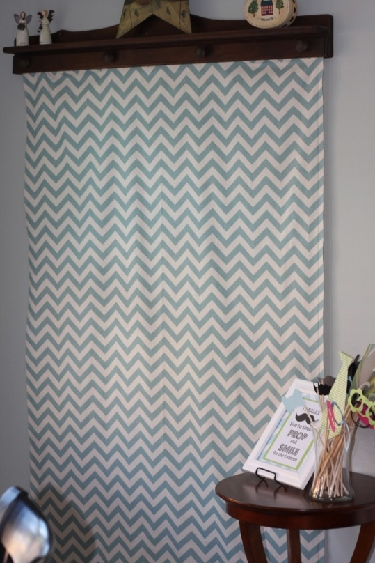 Photo booth!  Chevron backdrop first birthday party mustache bash - serendipity designs - www.serendipity-designs.com