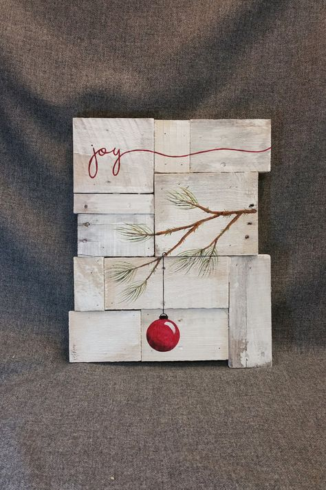 Rustic Christmas decor, Christmas Joy, Pallet art, Farmhouse decor, One of a kind, ORIGINAL, Hand painted, Shabbt chic, Distressed