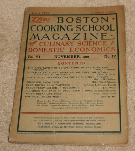 THE Boston Cooking School Magazine OF Culinary Science VOL VI November 1901 | eBay