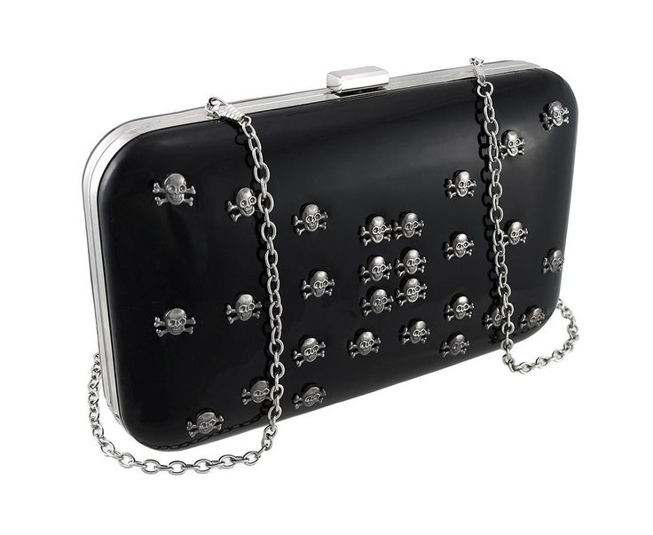 Glossy Black Patent Vinyl Clutch Purse With Skull Studs. 10 in. Long, 6 in. High, 2 in. Thick. Glossy Vinyl. Removable Rolo Chain Strap. Cloth Storage Bag Included. Great for a Night Out.