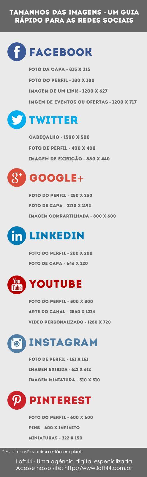 Um guia rápido para você não perder mais tempo na web buscando informações de tamanho de imagens para as redes sociais. - Loft44.com.br #Loft44