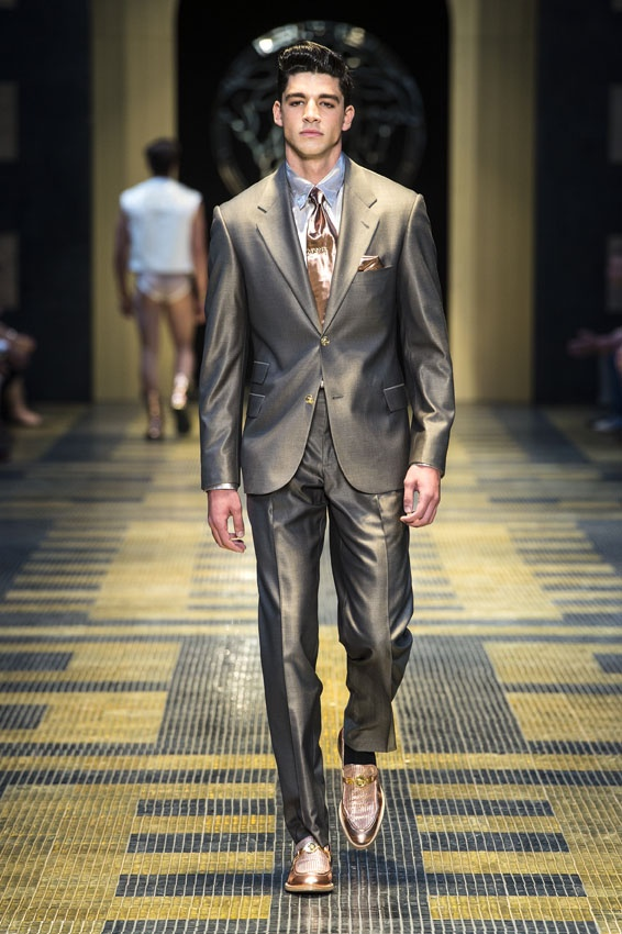 GIANNI VERSACE TESSUTI Mens Suit Wool Black Degrade Striped 36
