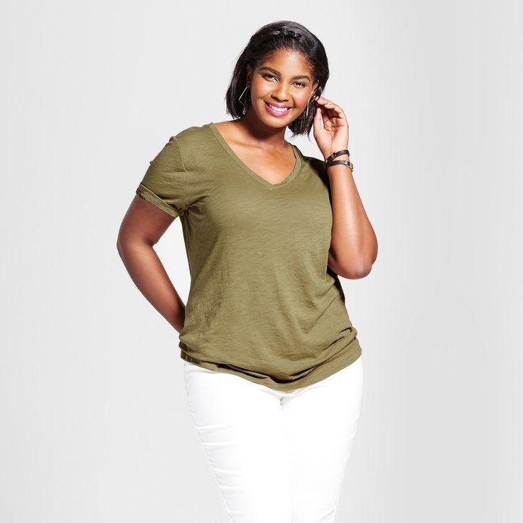 Women's Plus Size V-Neck T-Shirt - Ava & Viv Dried Oregano 2X
