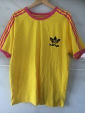 YELLOW AND PINK GENUINE ADIDAS RETRO T SHIRT SIZE XL