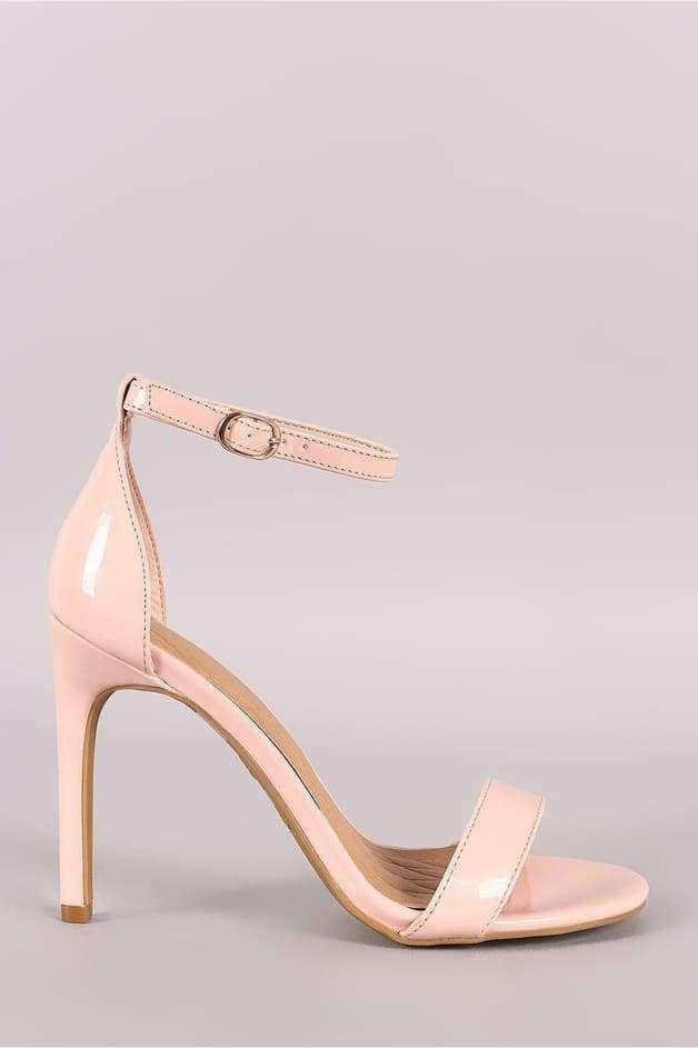 6e63c04c73b Anne Michelle Patent Ankle Strap Single Sole Heel