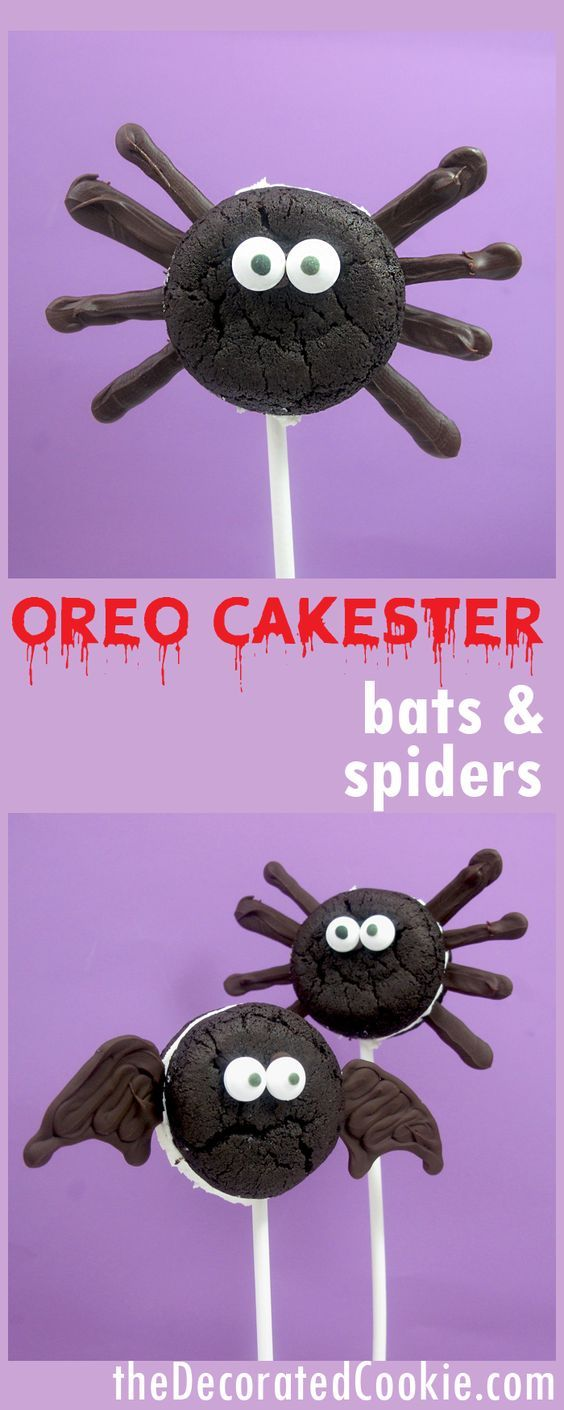 OREO Cakester bats and spiders on a stick for an easy Halloween treat idea
