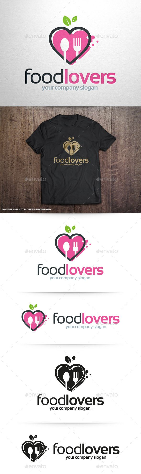 Food Lovers Logo Template (AI Illustrator, Resizable, CS, agency, apple, bio, blog, company, consultant, cook, dating, dinner, eat, eco, food, fork, green, health, heart, life, logo, love, restaurant, review, spoon, template, vector, website, weight)