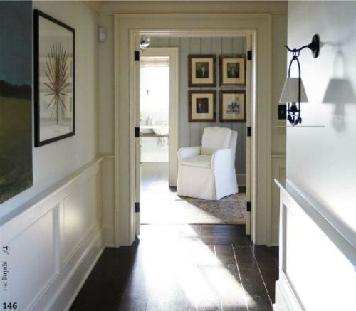Love the lookConnor Interiors, Upstairs Hallways, Blue Interiors, Dark Wood Floors, Interiors Design, Wall Lights, Doors Frames, Hallways Staircas, Kiawah Islands
