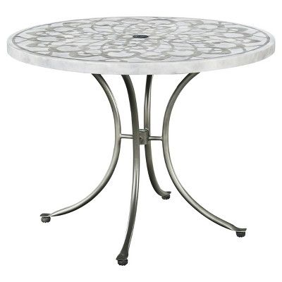 Capri Concrete Stenciled 5 Pc Round Outdoor Table And 4 Chairs - Gray - Home Styles