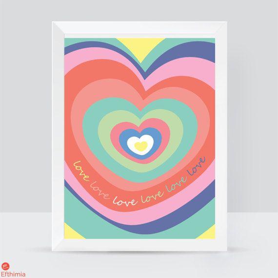 Heart digital print love art print heart by EfthimiaPapierMache