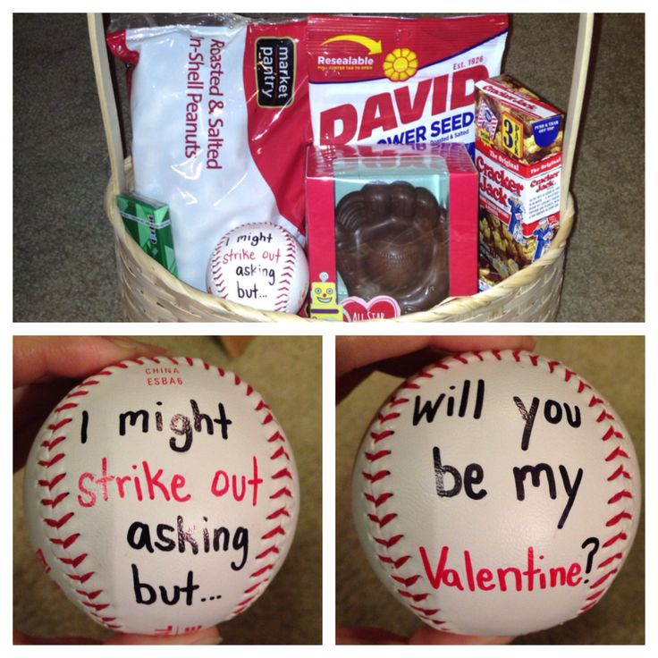 "Baseball player Valentine's Day - peanuts, sunflower seeds, cracker jacks, gum, chocolate All-Star mitt, baseball that says ""I might strike out asking but will you be my Valentine?"" DIY (V Day 2014)"