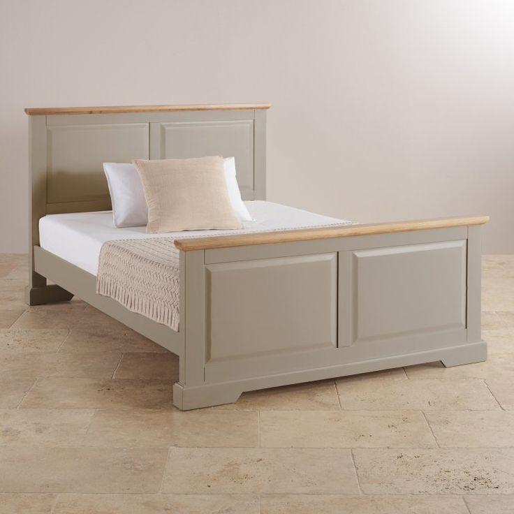st ives natural oak and light grey painted 5ft kingsize bed grey