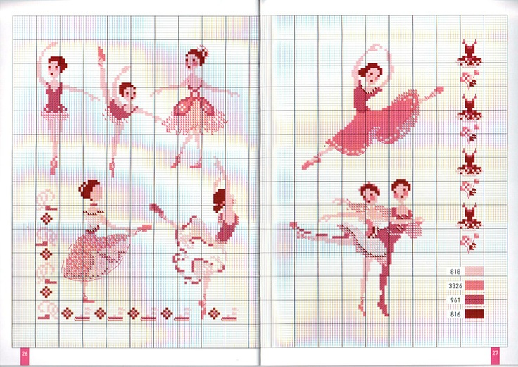 cross stitch - ballerinas
