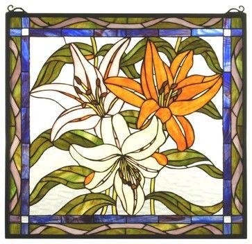 Meyda Tiffany Tiger Lily Staine Glass Tiffany Window X-41617 contemporary-windows