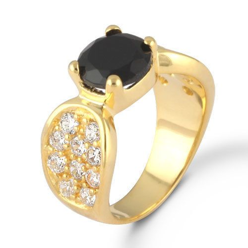 Brass Alloy Jewelry Natural Black Onyx Stone Ring Gold Overlay SZ 6 #Rinnga
