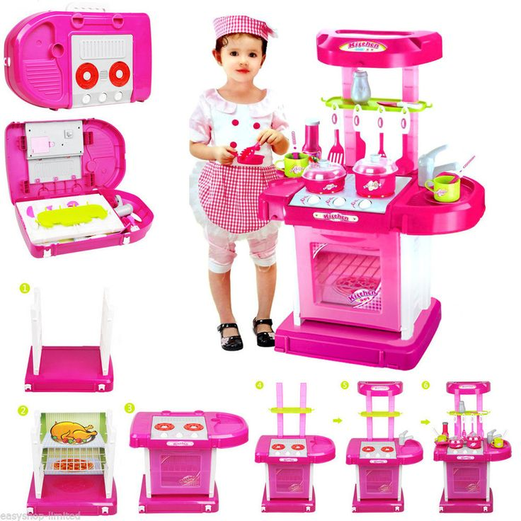 Children Kids Pretend Play Kitchen Set Education Toys Role With Carry Case