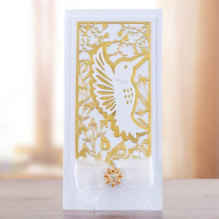 Gorgeous white and gold card design from the Songbird Collection! Shop the collection now!: http://www.createandcraft.tv/papercraft/dies+and+storage/dies/couture+collection--songbird.aspx?icn=Songbird&ici=Couture_Songbird #papercraft #cardmaking
