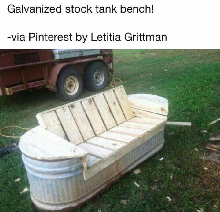 Stock tank bench