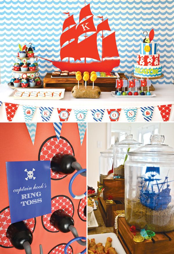 "Activities: Captain Hook's ring toss game. Ship in a bottle"" inspired buffet decorations featuring toy hooks, pirate ships & more"
