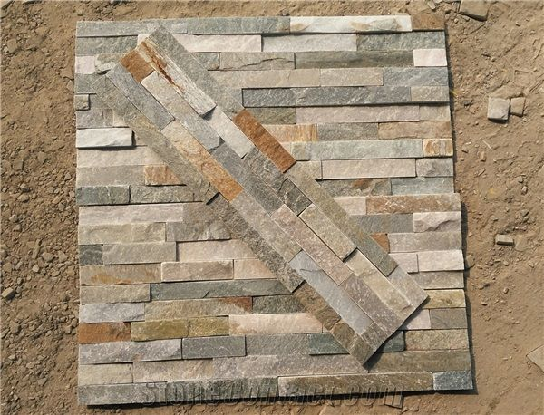 P014 Slate Wall Stone Cladding Corner Prices Cultured Stone Stacked Stone Veneer Walls
