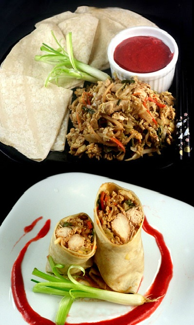 (CHINA) Chicken in Mandarin Pancakes with a gorgeous plum sauce! (Moo Shu Chicken)
