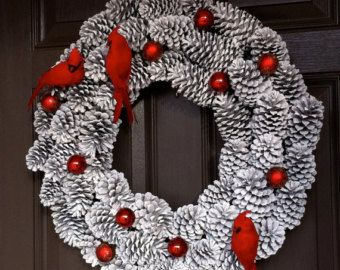 Pine Cone Wreath Christmas Wreath Flower Wreath by CraftElegance