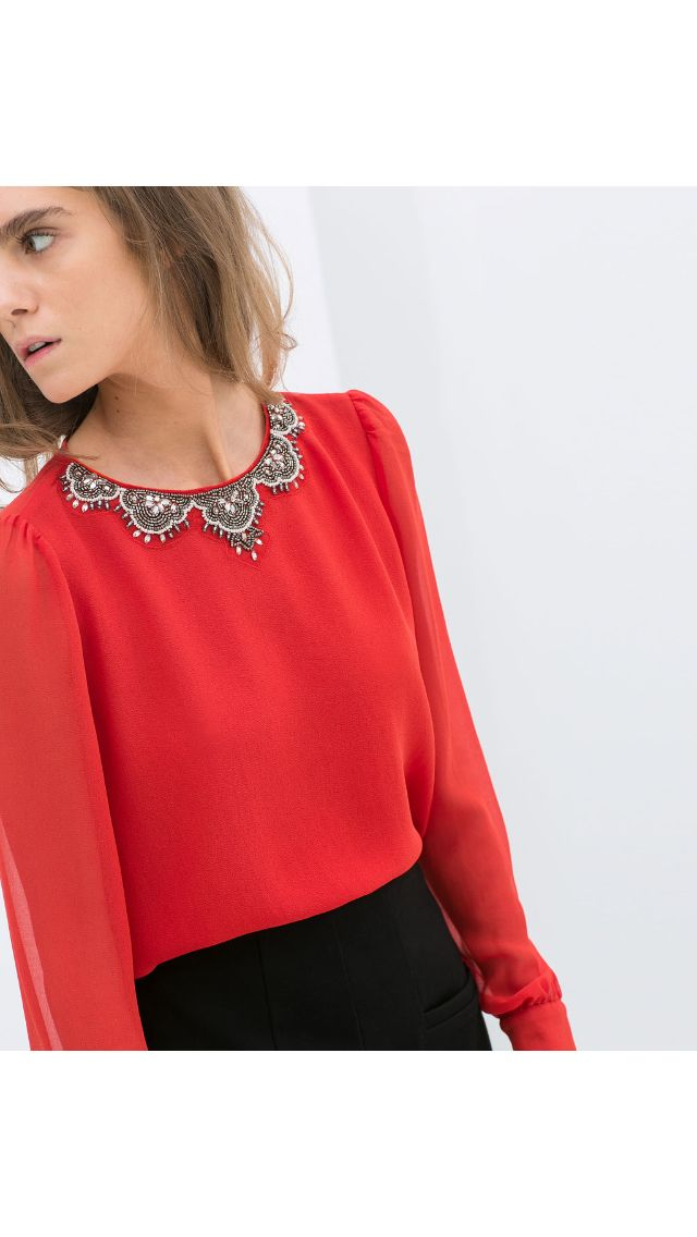 Zara fancy top in Coral