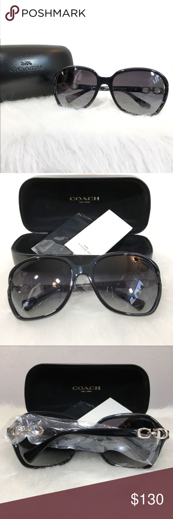 "🆕 COACH $195 Black Kissing Signature C Sunglasses NEW! $195 COACH Women's Dark Black Kissing ""C"" Square Sunglasses With Case   Model # Hc8145 (L948)  MSRP $195  Condition: Brand new, never used. Includes hard-case & cleaning cloth.  Details:  * 100% UV protection * Gradient lenses * Packaged in a protective Coach case with microfiber cleaning cloth  Coach is a modern american luxury brand with a rich heritage rooted in quality and craftsmanship. All over the world, the coach name is…"