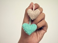 warm fuzzy knitted hearts <3