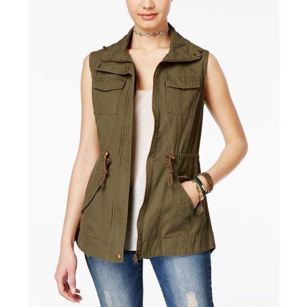 American Rag Utility Vest, ($40) ❤ liked on Polyvore featuring outerwear, vests, olive, brown vest, olive vest, brown waistcoat, olive cargo vest and green military vest