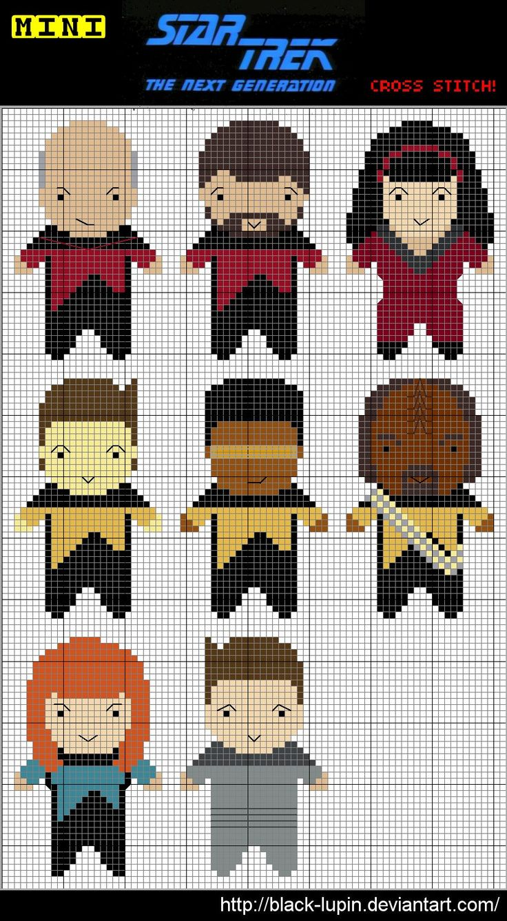 Star Trek:  TNG Cross Stitch Charts --- pinning this because I might use it for a gift for my dad one day...