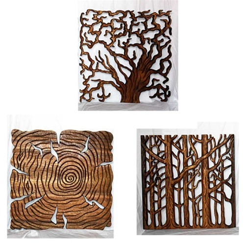 Wood Wall Art Panels verde lifestyles 3 tree of life wall panels with walnut oil finish