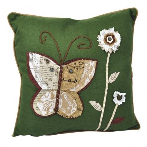 Linen & Polyester Embroidered Pillow - Green $74 AUD