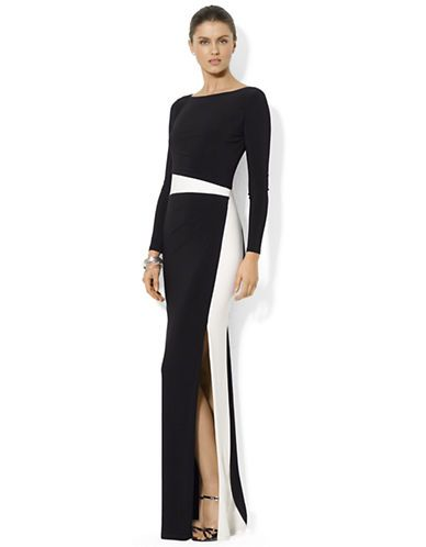 ... Clothing | Dresses | Long-Sleeved Boatneck Gown | Lord and Taylor
