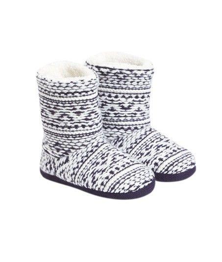 Bottines chaussons jacquard intérieur fourré - JACQUARD - BLEU - Etam