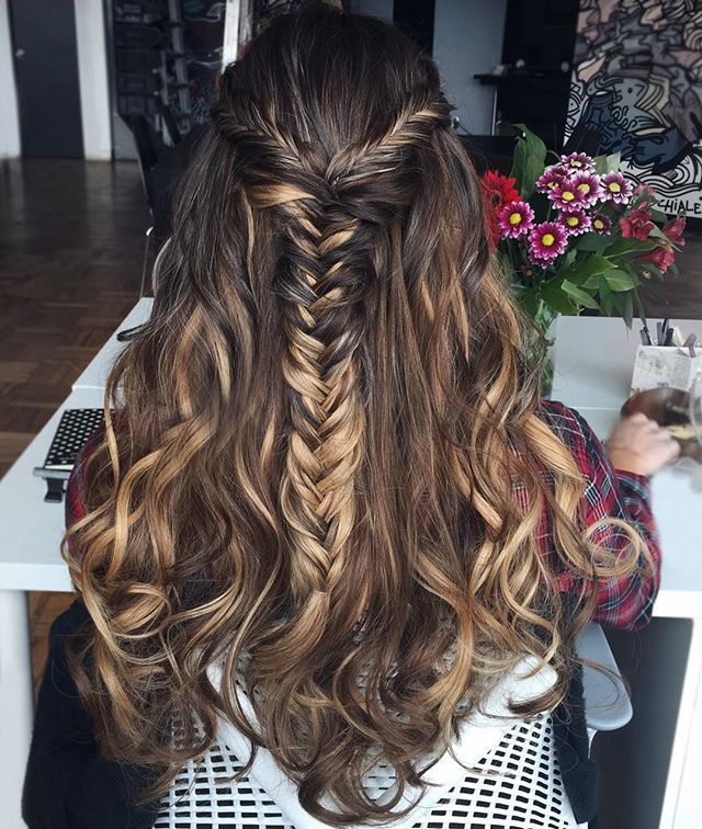 #Throwback to playing with @liliyakay's #hair at work  Chestnut Brown and Dirty Blonde #luxyhair wefts were mixed to create these highlights  How do you wear your hair for work?